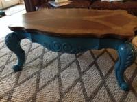 Fantastic vintage coffee table with fabulous turquoise