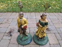 Fantastic pair of early American settlers tabletop