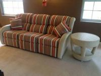 Fabric and wicker sofa with both ends reclining and