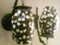 beautiful amber REAL GLASS & METAL mosaic design sconce