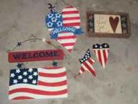 5 America Themed Signs. In great condition. E-mail or