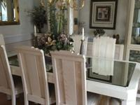 "Complete dining room set.Table: 72"" x 43"" with 18"""