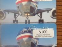 Two $100.00 American Airline Gift Cards.  $150 for both