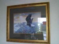 AMERICAN BOLD EAGLE IN FLIGHT PICTURE WITH FRAME PLEASE