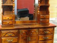 Beautiful American Drew dresser with lighted hutch.