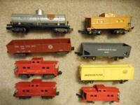 Cabooses $5 ea, Hooper car, Yellow Box car $10 ea