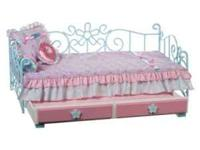 "18"" Doll Bed with trundle and all blankets and pillows"
