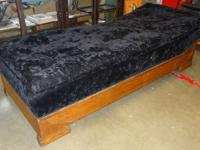 Black velvet antique chaise lounge / fainting couch in