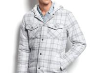 A lighter layer for the season, this plaid hooded shirt