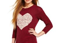 Stamped with a heart, American Rag's high-low intarsia
