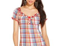 Play up your girl-next-door look in a plaid-print top