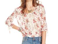 American Rag's soft lace blouson top is enlivened with