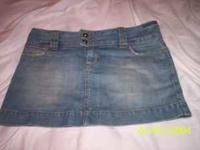 This is a American Eagle blue jean mini skirt in
