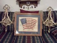 Very nice Americana picture and gold sconces ....text