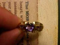 14K Gold ring with Amethyst heart shaped stone with