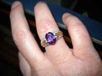 Ladies Lovely Oval cut Amethyst Ring with diamonds