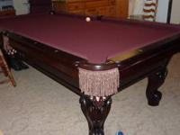 56 x 100 8'. Beautiful Cherrywood, burgundy top. Like