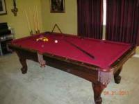 Immaculate Beautiful wood pool table. Stand with cue