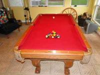 Beautiful Oak 7Foot Pool Table.Ball And Claw Legs AMF