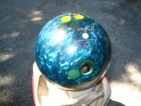 BOWLING BALL,Amflite. Ball is teal colored weighs