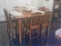 5x5x3 Square Gathering Table with 8 chairs. Solid Oak
