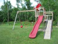 Amish swingset with adult size swings and slide. Please