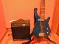ROGUE 4 STRING BASS GUITAR AND 20 WATT AMP - GREAT FOR