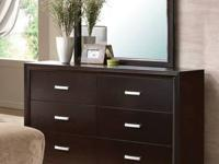 ANDREAS CASUAL SIX DRAWER DRESSER AND SQUARE MIRROR