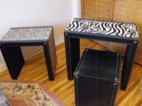 faux leather animal print nesting tables firm on price