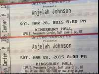 Two tickets for Anjelah Johnson on March 28th at 8:00pm