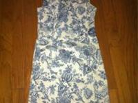 "Beautiful dress sz 6. 95% cotton 5% spandex. I'm 5""6"