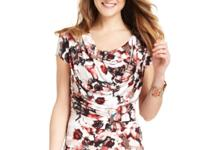 Anne Klein's floral-print top features a chic cowl