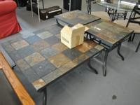 Antigo slate Ceramic tile top coffee table and 2 end