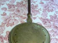 Antique 1800's  Long Handled Brass Bed Warmer - Wood
