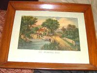 ANTIQUE 1869 HAND-COLORED CURRIER & IVES - THE ROADSIDE