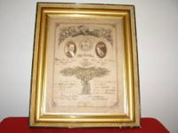 I am selling an antique 1875 wedding certificate. It is
