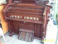 MADE IN 1885 ANTIQUE ESTEY REED ORGAN SOLD WALNUT -