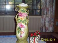 "Antique 19"" vase with pink and yellow flowers, green"