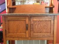 1910-1930  European origin, oak server, with marble to