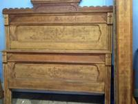 Antique 3/4 bed. Includes headboard,footboard and side