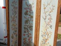 Antique 3-panel room screen is absolutely charming and