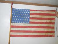 OFFERING ANTIQUE 48 STAR PARADE FLAG W / ATTACHED
