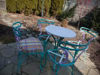 4 fanciful metal chairs, small metal table, New