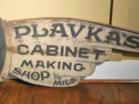 Hand made folk art advertising or trade sign in the
