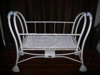 ANTIQUE BABY BASSINET (SAFETY 1ST) WHITE METAL, ROCKING