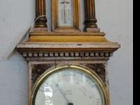 Large antique barometer with carved case, fluted