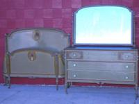 I HAVE AN ANTIQUE BED AND MATCHING CABINET FOR SALE !!