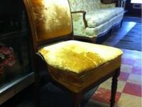 Here is a great little bedroom chair! Gold fabric and
