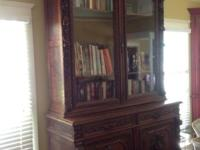 Antique Black Forest bookcase or breakfront. Three