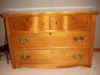 Pretty blonde veneer top and drawers antique dresser.